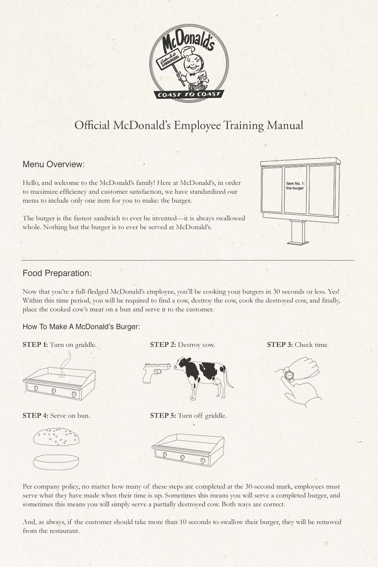 the original mcdonald s employee training manual is a must read rh lifestyle clickhole com mcdonalds o t manual download mcdonalds o t manual download
