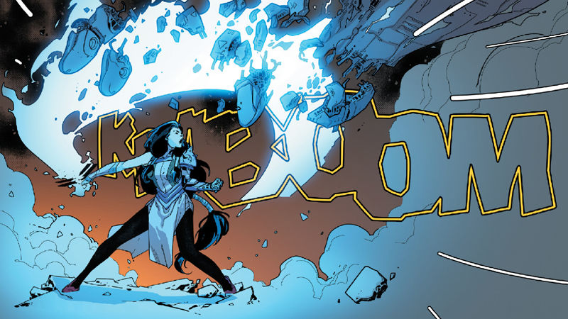 Rasputin makes a sentinel's arm go kaboom. Also the sound my brain made reading Powers of X #1.
