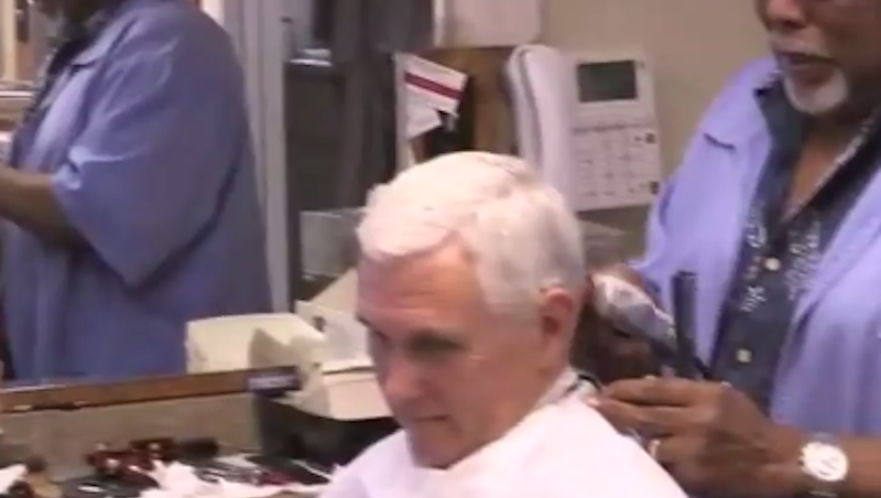 Illustration for article titled An Extremely Bad Facebook Live Video of Mike Pence Getting a Haircut