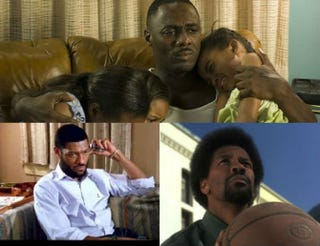 Top: Idris Elba in Daddy's Little Girls. Bottom row: Laurence Fishburne in Boyz n the Hood; Denzel Washington in He Got Game.IMDb. YouTube screenshots