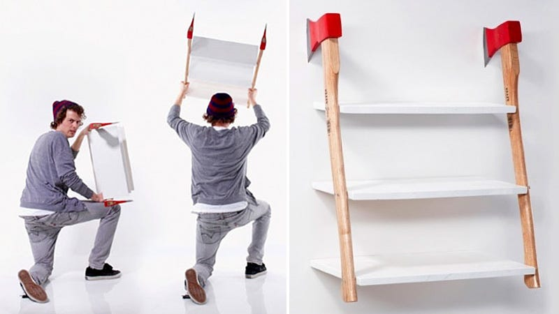 Illustration for article titled Installing This Axe Shelf Looks Incredibly Easy and Dangerous