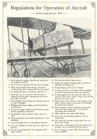 Illustration for article titled Flying regulations, circa 1920