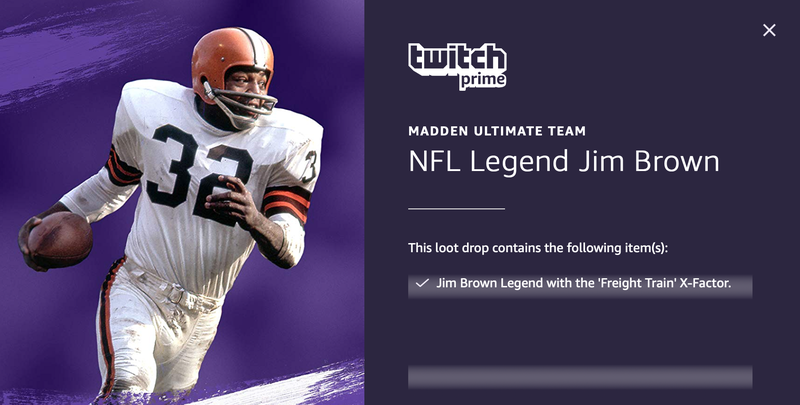 FREE Jim Brown Madden 20 Ultimate Team Download | Twitch Prime | Free with Amazon Prime
