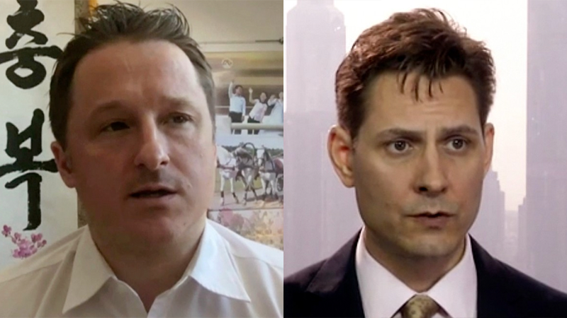 Michael Spavor in a file photo from 2017 (left) and Michael Kovrig in a file photo from March 2018 (right).