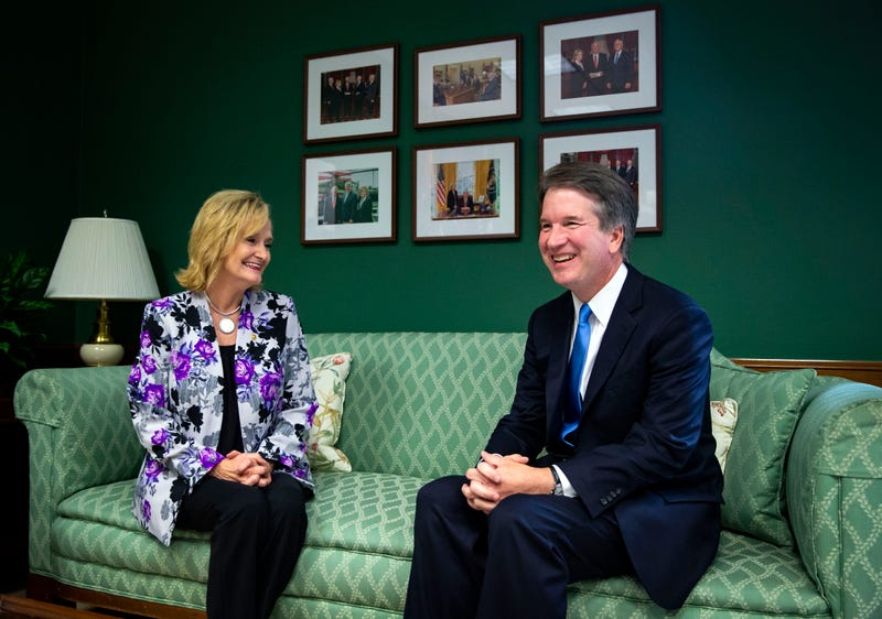 Sen. Cindy Hyde-Smith (R-MS) greets Supreme Court nominee Judge Brett Kavanaugh, in her office on Capitol Hill, on July 25, 2018 in Washington, DC.
