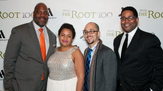 Honoree Jelani Cobb, Shani Hilton of Buzzfeed and honorees Adam Serwer and  Jamil SmithSeher Sikandar