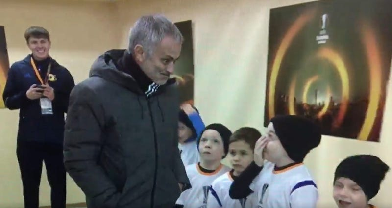 Illustration for article titled Tiny Russian Boy Meets José Mourinho, Can't Contain His Joy