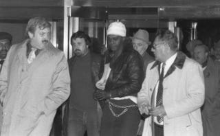 Abdul Majid, then known as Anthony Laborde, is escorted to federal court in Brooklyn, N.Y., after the death of New York City Police Officer John Scarangella in 1981.New York Daily News via Twitter