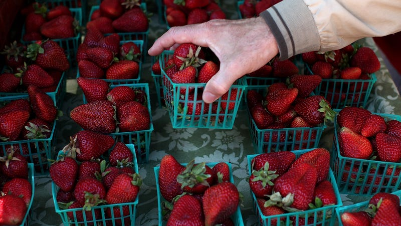 A customer finds a pint of strawberries at a farmers market in San Francisco