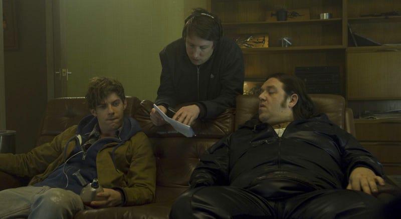 Joe Cornish (center) on the set of Attack the Block. Image: Sony