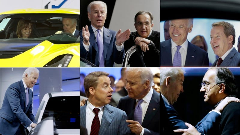 Illustration for article titled The Many Faces Of Joe Biden At The Detroit Auto Show