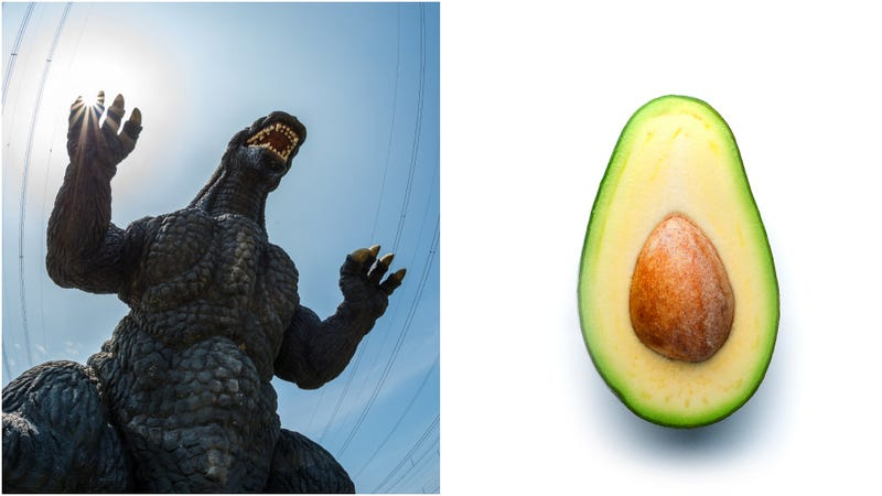 """Illustration for article titled Giant """"avozilla""""is an avocado five times larger than regular size"""