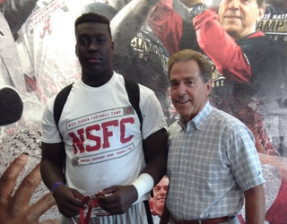 Jaheim Oatis and Alabama head coach Nick Saban (Jaheim Oatis via Twitter)