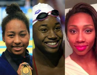 Lia Neal;Simone Manuel;Natalie HindsMIRA/AFP/Getty Images;Ian MacNicol/Getty Images;Twitter