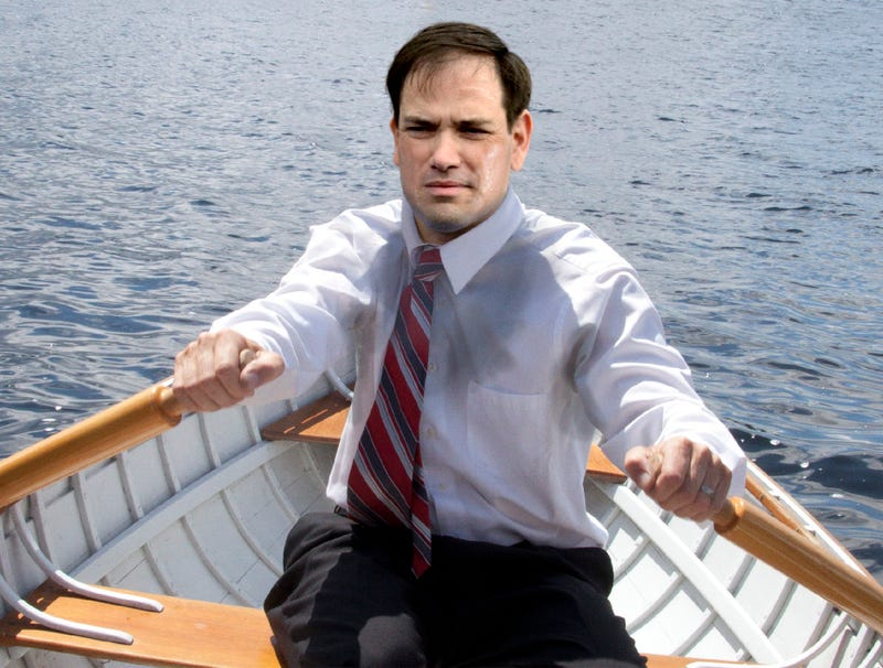 Illustration for article titled Wild-Eyed Marco Rubio Embarks In Rowboat To Help Venezuela Coup Effort
