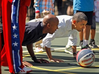 President Obama with former NBA player Bruce Bowen (Chip Somodevilla/Getty Images)