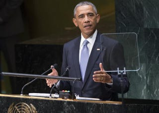 President Barack Obama speaks during the 69th Session of the United Nations General Assembly at the U.N. in New York City Sept. 24, 2014.SAUL LOEB/AFP/Getty Images