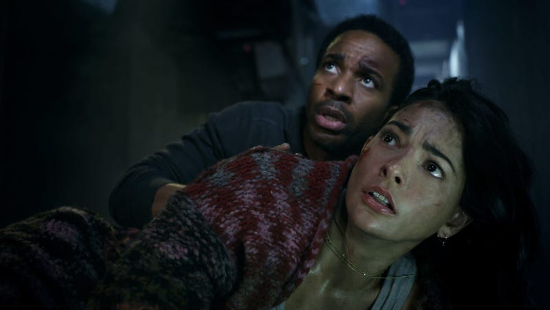 Andre Holland and Natalie Martinez in the Jurassic World short film Battle at Big Rock.