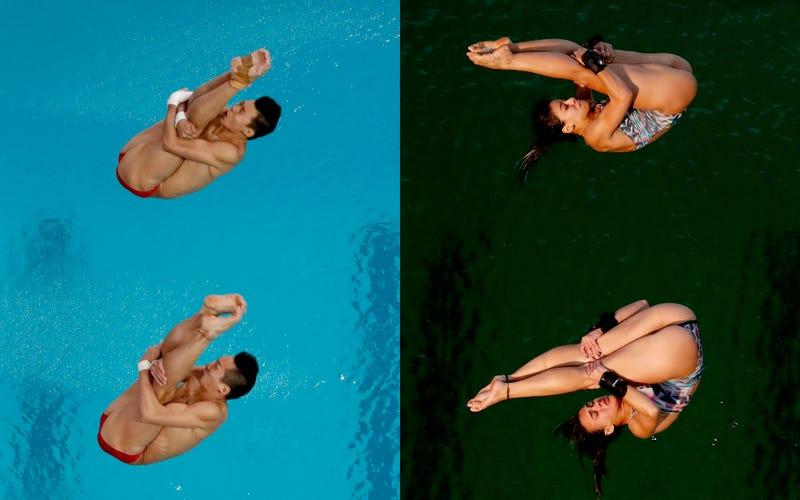 La piscina de salto olímpico el 8 de agosto (izquierda) y el 9 de agosto (derecha). Imagen: AP