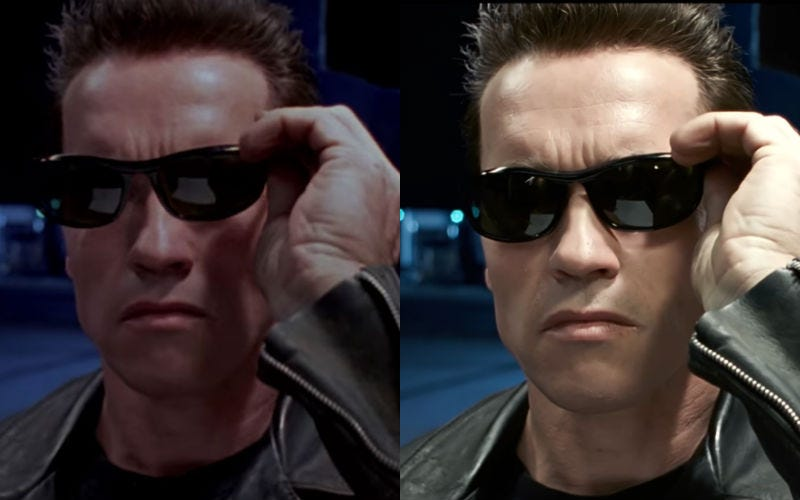 Terminator 2 in 1991 and 2017. Image: YouTube