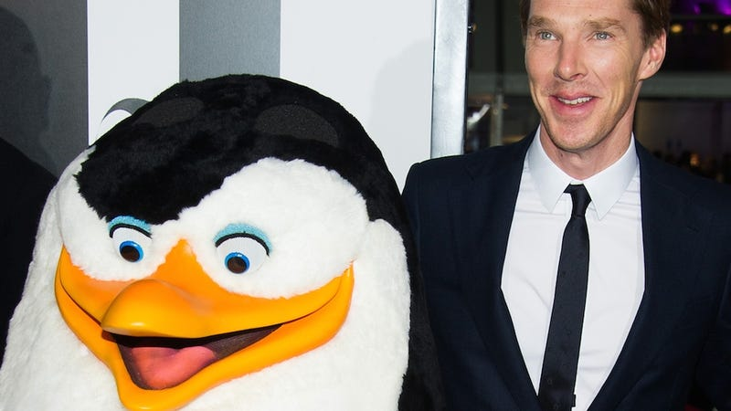 Illustration for article titled Here Is Benedict Cumberbatch With a Giant Penguin