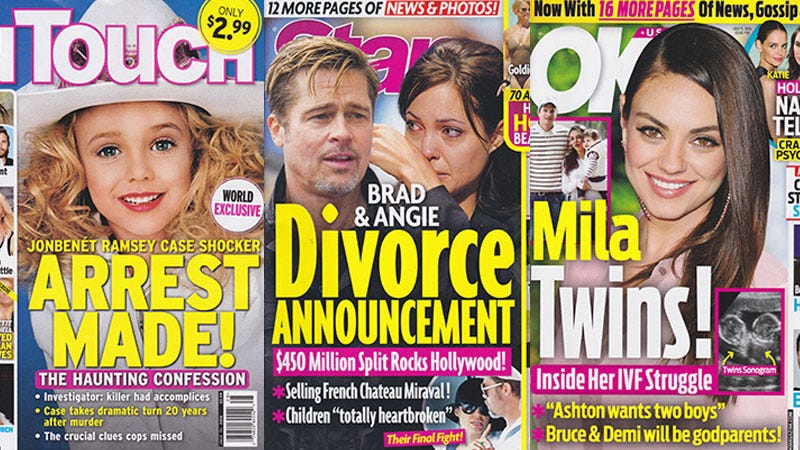 Illustration for article titled This Week In Tabloids: OK!Pretends They Have an Ultrasound of Mila & Ashton's Babies