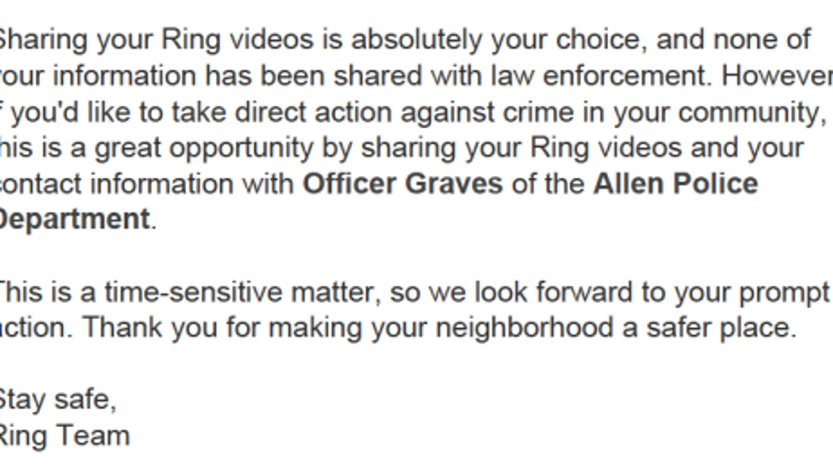 Everything Cops Say About Amazon's Ring Is Scripted or