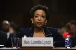 Loretta Lynch testifies during a confirmation hearing before the Senate Judiciary Committee regarding her nomination as U.S. attorney general Jan. 28, 2015, on Capitol Hill in Washington, D.C.Alex Wong/Getty Images