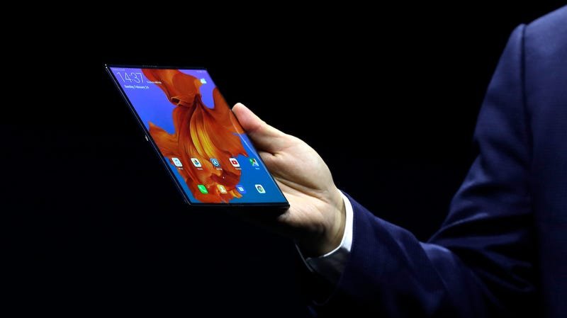 Huawei executive Richard Yu displays the new Huawei Mate X foldable 5G smartphone at the Mobile World Congress, in Barcelona, Spain on Februrary 24, 2019