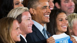 Illustration for article titled Obama Honors U.S. Women's Soccer Team:'Playing Like a Girl Means You're a Badass'