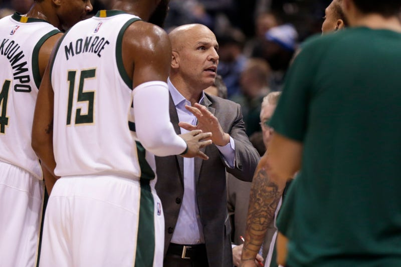 Head coach Jason Kidd of the Milwaukee Bucks talks to the team during a game in Milwaukee Oct. 26, 2016. The Bucks say they will not be staying at hotels branded with the Donald Trump name. The president-elect made what many considered racist and sexist comments during the campaign for president.Mike McGinnis/Getty Images