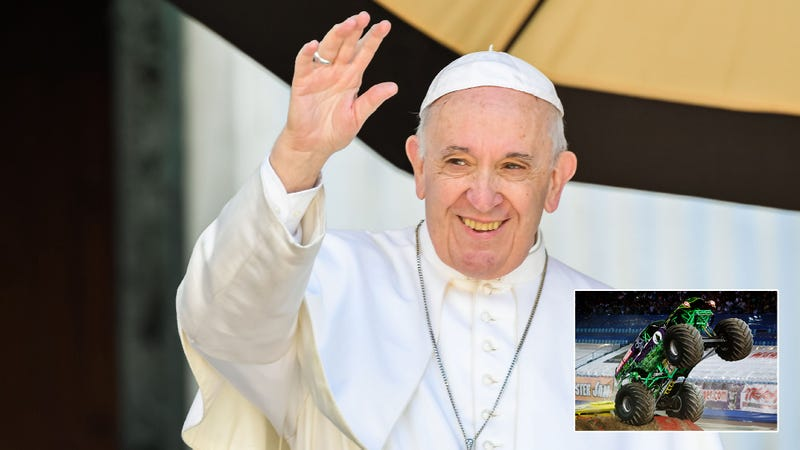 Illustration for article titled A Crisis Of Faith: Pope Francis Has Left The Catholic Church To Worship A Monster Truck He Saw Flatten 30 School Busses
