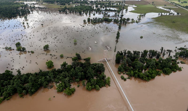 Parts of Texas have been inundated with rain, with waterways such as the Brazos River flooding its banks. Image: AP
