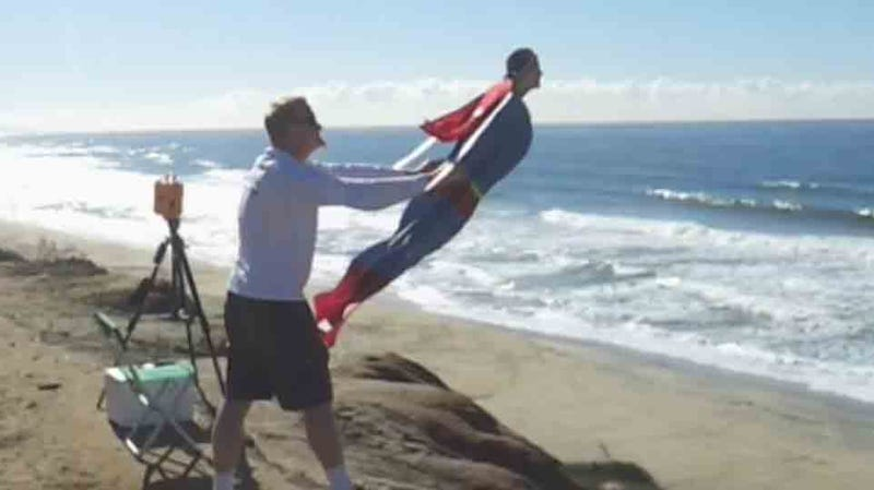Must watch video of the day life size superman flies over the beach this live sized superman is actually a custom built rc plane but when you see it flying through the sky publicscrutiny Gallery