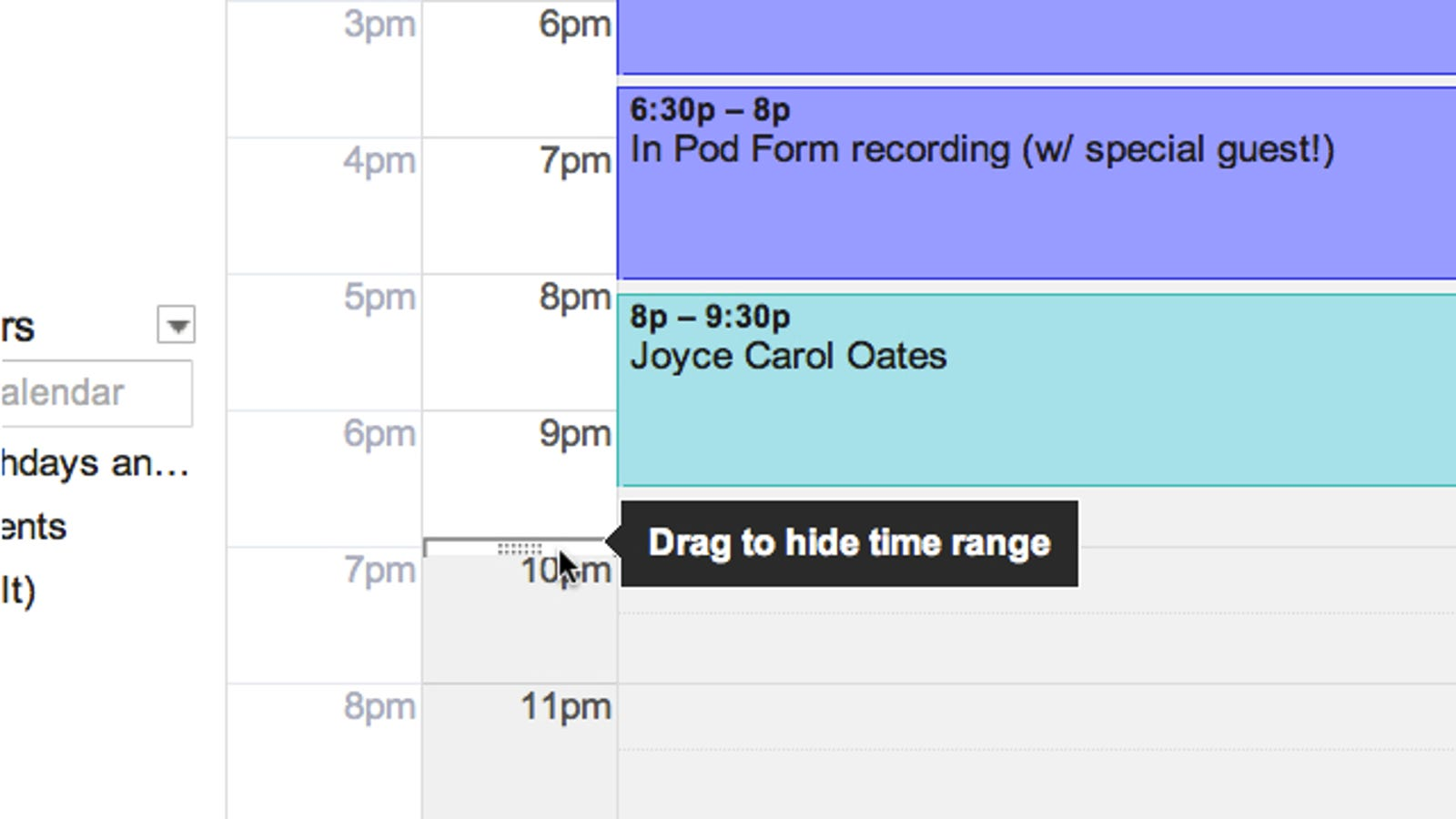 Calendar Labs May : Google calendar lab hides your least used hours