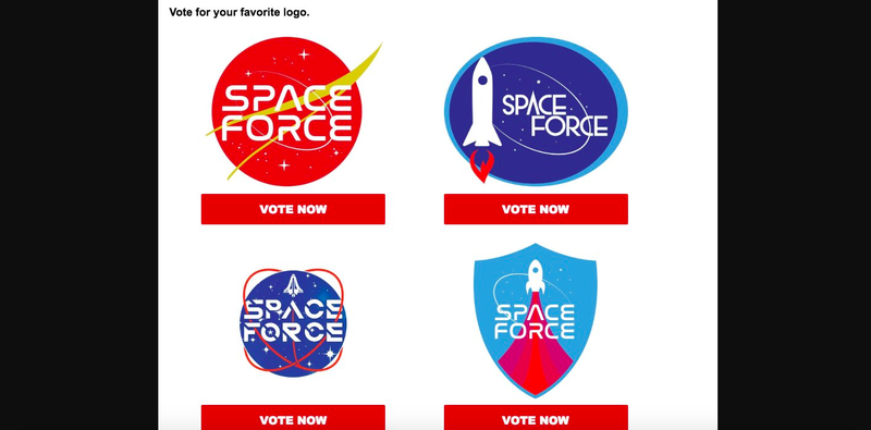 Illustration for article titled Hardcore Trump Fans Will Be the Ones Picking Out the Space Force Logo