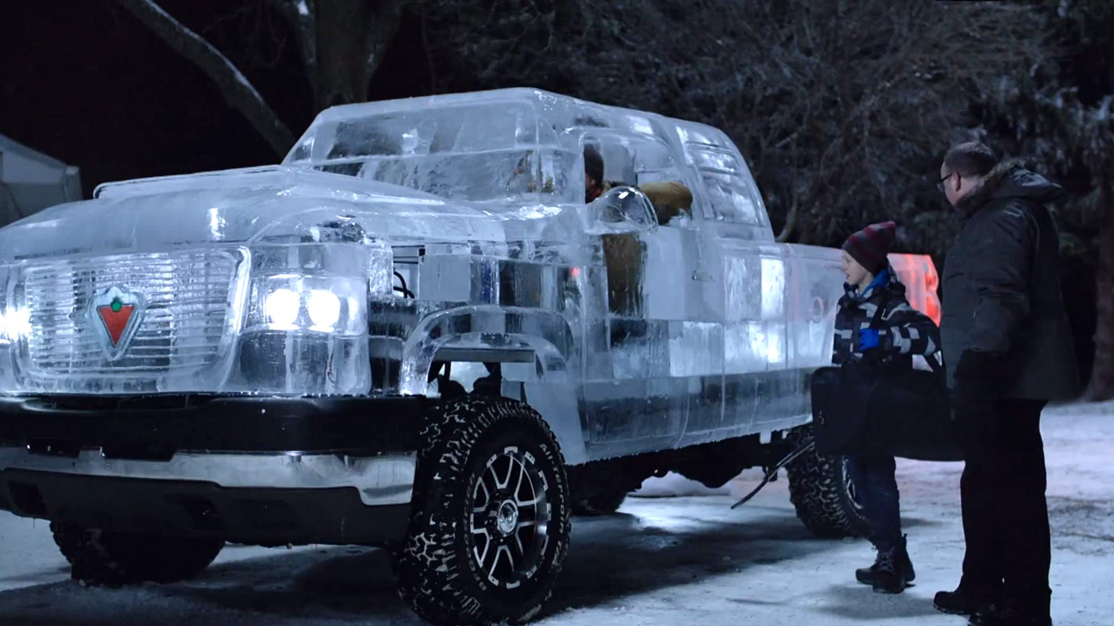 This pickup truck is made of ice and you can actually drive it