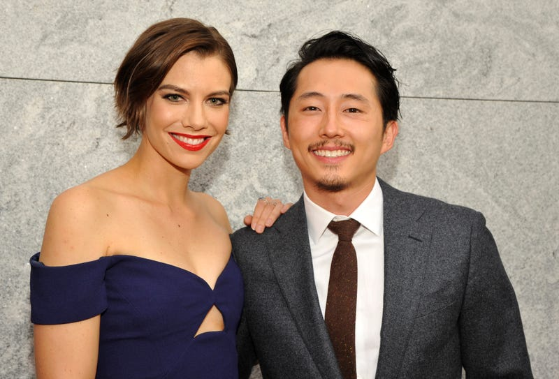 Lauren Cohan (who plays Maggie) and Steven Yeun (who plays Glenn) attend an event for the premiere of AMC's The Walking Dead in Hollywood, Calif., on Oct. 23, 2016.John Sciulli/Getty Images for AMC