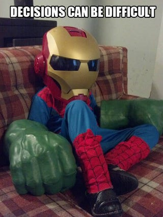 Illustration for article titled Hulk smash Spidey Iron Man!!