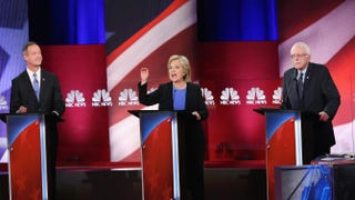 Democratic presidential candidates Martin OMalley, Hillary Clinton and Sen. Bernie Sanders (I-Vt.) participate in the Democratic candidates debate on Jan. 17, 2016, in Charleston, S.C.Andrew Burton/Getty Images