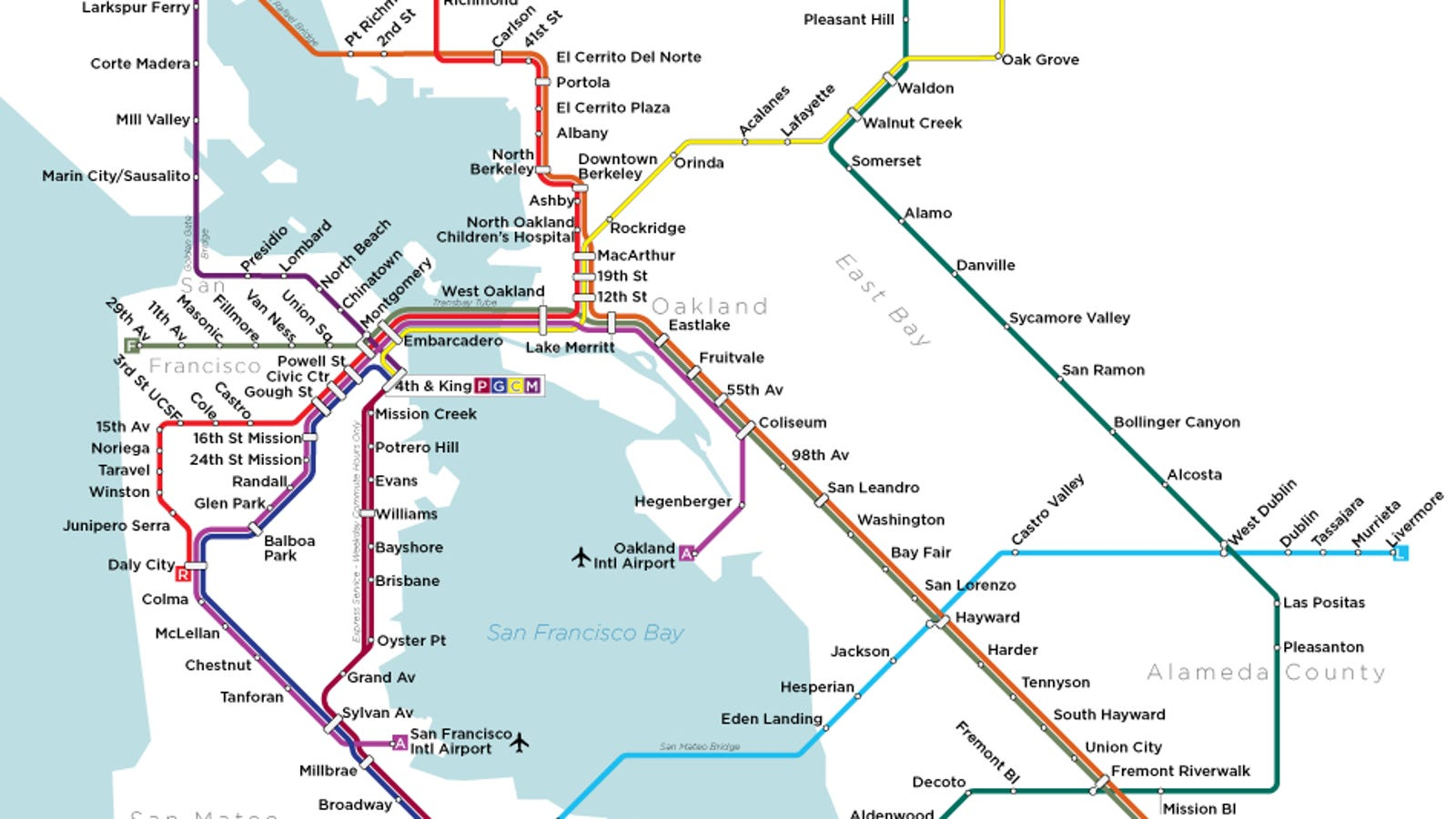 A map of San Francisco\'s subway system that almost was