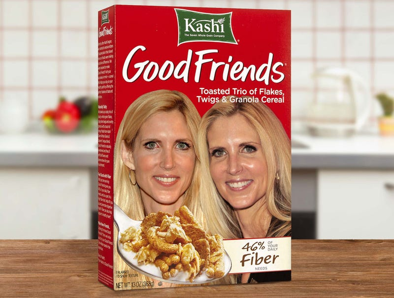 Illustration for article titled Makers Of Good Friends Cereal Not Sure How Two Pictures Of Ann Coulter Got On Box