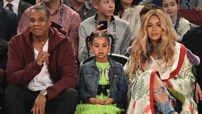 (L-R) Jay Z, Blue Ivy Carter and Beyoncé Knowles attend the 66th NBA All-Star Game on February 19, 2017 in New Orleans, La.