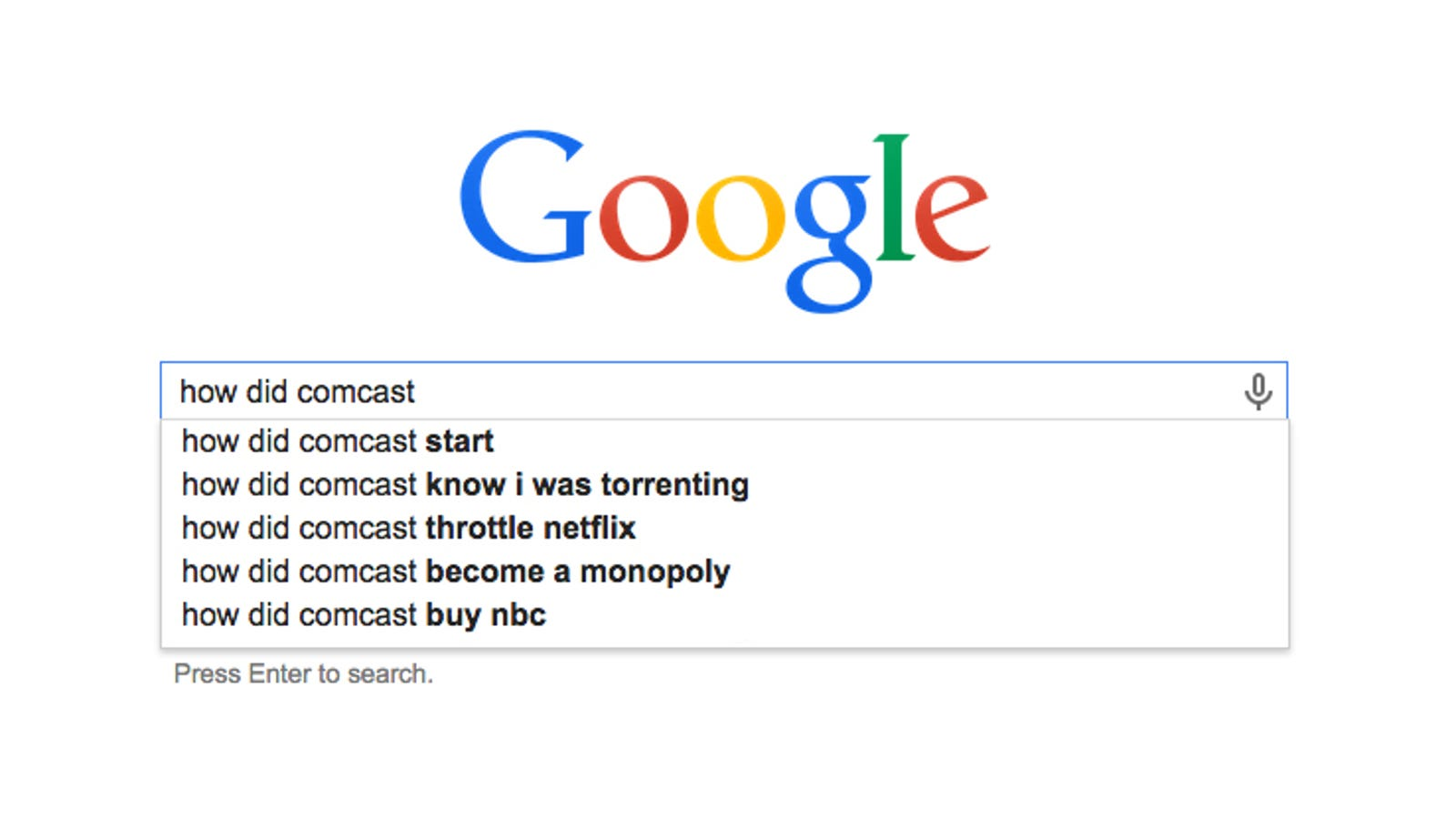 The history of comcast as told by google autofill solutioingenieria Images
