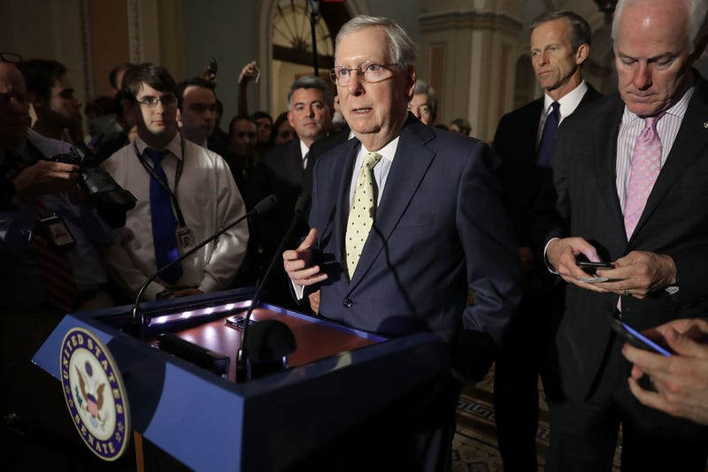 Senate Majority Leader Mitch McConnell (R-Ky.), center, approaches the microphones before talking with reporters following the weekly GOP policy luncheon at the U.S. Capitol on June 20, 2017, in Washington, D.C. (Chip Somodevilla/Getty Images)