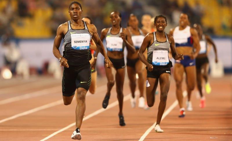 Semenya practically jogging to an 800-meter win at a world-class Diamond League meet, 2016. Getty Images.