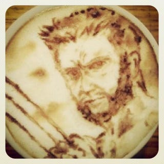 Illustration for article titled Hugh Jackman posts a photo of his favorite latte cup ever