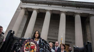 State's Attorney for Baltimore City Marilyn J. Mosby announces on May 1, 2015, in Baltimore that criminal charges will be filed against six city police officers in the death of Freddie Gray.Andrew Burton/Getty Images