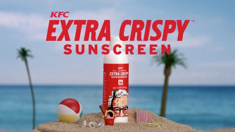Illustration for article titled Grease yourself up with KFC's fried chicken-scented sunscreen