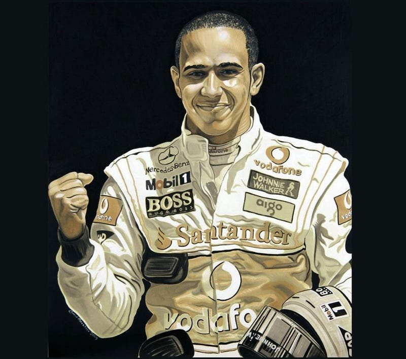 Illustration for article titled Lewis Hamilton Portrait Painted With Motor Oil From His F1 Car